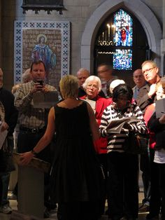 Iconographer Ludmilla prepares docents for the Icons in Transformation exhibit at Christ Church Cathedral.