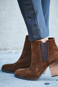 Brown suede booties. The essential wardrobe shoe.