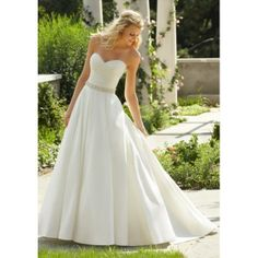 Timeless Taffeta Strapless Sweetheart A-line Wedding Dress with Ruching Bodice and Beading Belt - WEDDING DRESSES - Wedding Dress UK