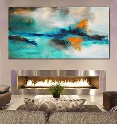 Large print Abstract PaintingAqua blue PaintingLarge by BuyWallArt