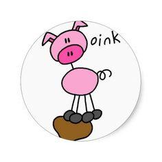 Pig Stick Figure Sticker