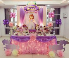 Sofia the first birthday party dessert table and decor – Artofit Princess Sofia Birthday, Sofia The First Birthday Party, Girl Birthday Themes, Disney Princess Party, Bday Girl, First Birthday Parties, Birthday Party Decorations, Princess Sofia Cake, 3rd Birthday