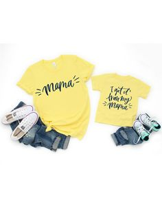 I got it from my mama! Cutest matching set for mommy and her mini me Mommy And Me Shirt, Mommy And Me Outfits, My T Shirt, Kids Outfits, Matching Dress For Family, Matching Outfits, Matching Set, Mothers Day Shirts, Mom Shirts
