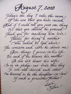 Mother of the groom gift - this is a beautiful little note that would tie nicely to any gift.