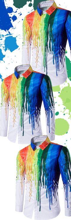$15.17 Colorful Splatter Paint Print Turndown Collar Long Sleeve Shirt - White