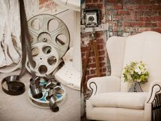 Lace and Film Wedding Ideas - Such a cute idea for a couple who is huge film lovers and/or actors/writers =)