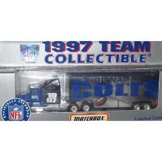 Indianapolis Colts NFL Diecast 1997 Matchbox Tractor Trailer Football Team Truck White Rose Collectible Car by NFL  $20.89