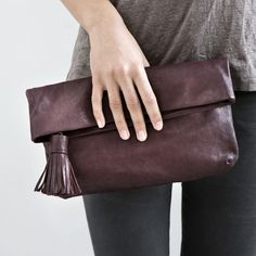 Tassel Clutch by Yvonne Koné Tote Bags, My Bags, Purses And Bags, Leather Clutch, Leather Tassel, Soft Leather, Clutch Purse, Foldover Clutch, Beautiful Bags