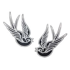 2 PCS Black Swallow Patch Embroidered Punk Iron On Sew On Patches