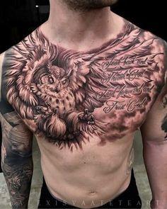 Owl Tattoo Chest, Cool Chest Tattoos, Chest Piece Tattoos, Cool Tattoos, Pair Tattoos, Tattoos For Guys, Angel Of Death Tattoo, Half Sleeve Tattoo Stencils, Best Tattoo Ever