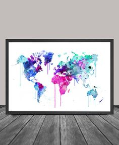 Colorful Watercolour World Map Art Print by FineArtCenter on Etsy