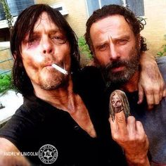 Andrew Lincoln and Norman Reedus behind the scenes Entertainment Weekly/2014 Magazine cover