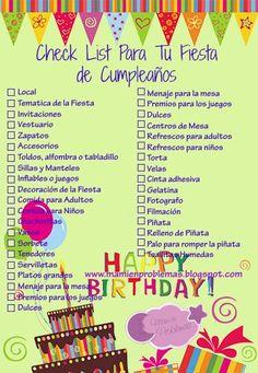Check List Para tu Fiesta de Cumpleaños