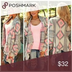 Aztec Print Cardigan Gray and Pink Cardigan is super soft and cuddly for those chilly days. Material is polyester. 20% discount if bundled. Thanks for shopping! Sweaters Cardigans