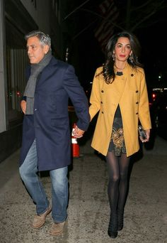 Amal and George Clooney had dinner at the Japanese restaurant Kappo Masa on Manhattan's Upper East Side in New York on March 7, 2015  Amal wore a dress and Black Velvet Gladiator Heels by Giambattista Valli.   Monaco double-breasted wool-blend coat by Paul & Joe, earrings by Dolce & Gabbana and the clutch is by Sarah's Bag .