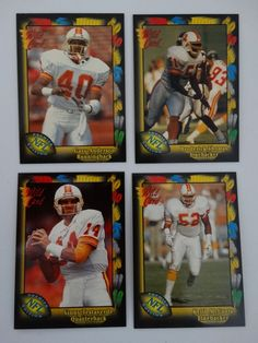 1991 Wild Card Tampa Bay Buccaneers Bucs Team Set of 4 Football Cards #TampaBayBuccaneers