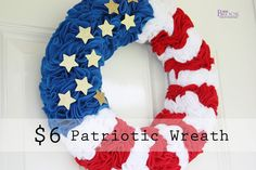 This wreath uses a pool noodle and felt.  Cost is $6.  What a great idea!