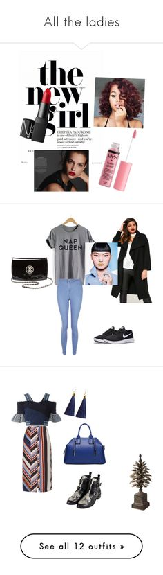 """All the ladies"" by diamond793 ❤ liked on Polyvore featuring Charlotte Russe, NARS Cosmetics, New Look, NIKE, Missguided, Chanel, Topshop, Peter Pilotto, Essie and OPI"