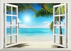 Decoración 3D Sol Playa Vista de la ventana Arte de pared removible Vinilo Adhesivo Pegatinas decoración del hogar WSright001 adhesivo decorativo Árbol