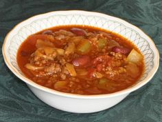 Tim Hortons Chili - Best chili in the world. :) If cooking the chili in a crock pot, drain the tomatoes; cover and cook on low for about 5 hours. Chili can be made ahead and refrigerated overnight. Freezes well too. Chilli Recipes, Crockpot Recipes, Cooking Recipes, Healthy Recipes, Cooking Chili, Cooking Time, Bariatric Recipes, Cooking Turkey, Healthy Meals