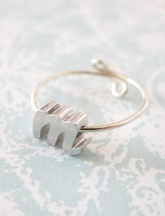 Personalized Silver Initial Letter Ring Silver