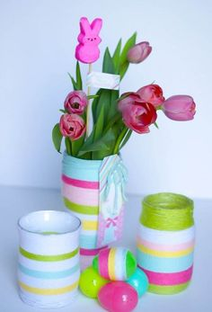 Easter Jar Vases  - Easter Mason Jar Crafts - Easter Craft Ideas with Mason Jars