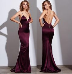 Sexy Burgundy Prom Dress, Mermaid Prom Dresses, Spaghetti Straps Long Prom Gown, Satin Long Evening Dress, Backless Formal Dress by prom dresses, $162.00 USD