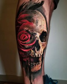 120 Meaningful Rose Tattoo Designs Art and Design Colorful Rose Tattoos, Coloured Rose Tattoo, Tribal Rose Tattoos, Rose Tattoos For Men, Pink Rose Tattoos, Tattoos Skull, Leg Tattoos, Tattoos For Guys, Sleeve Tattoos