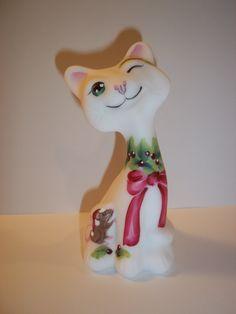 "Fenton Glass Christmas Mouse White 4"" Happy Kitty Cat FAGCA CC Hardman LE of 35"