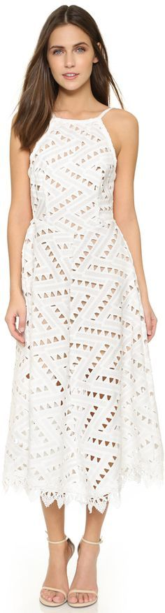 white Line & Dot Geo Lace Dress @roressclothes closet ideas women fashion outfit clothing style