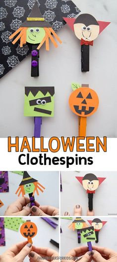 HALLOWEEN CLOTHESPINS 🎃 - these adorable Halloween clothespin characters are so fun to make! Fun and easy Halloween craft for kids. Halloween Activities For Kids, Halloween Games, Halloween Crafts For Kids, Halloween Projects, Easy Crafts For Kids, Holidays Halloween, Craft Activities, Halloween Kids, Fun Crafts
