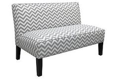 One Kings Lane - Get It Together - Gardner Armless Settee, Gray/White