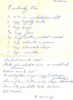 Handwritten Recipe For #Kentucky Pie