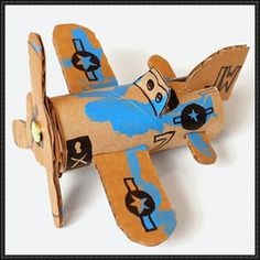 Papercraft for Kids - Airplane Using Recycled Cardboard Free Template Download