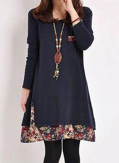 Повседневное платье из хлопока длины выше колена с сочетанием контрастных цветов с длинными рукавами