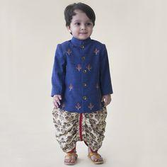 Ethnic Clothing for Boys - Denim Buta Infant Bandhgala Dhoti Set Ethnic Wear For Boys, Kids Indian Wear, Kids Wear Boys, Indian Baby, Toddler Outfits, Baby Boy Outfits, Kids Outfits, Kids Kurta, Boys Kurta Design