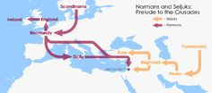 Simple map of the crusades (Normans and Seljuks). Explains the red hair on the Sicilian side of the family.