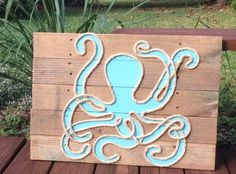 Handmade Octopus with Rope Beach Pallet Art by BeachByDesignCo