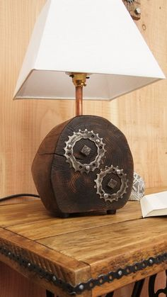 Handmade Scorched Oak Lamp Base With Reclaimed by NewPurposeDesign