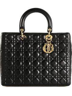 CHRISTIAN DIOR VINTAGE large 'Lady Dior' tote #accessories #christiandior #dior #women #designer #covetme
