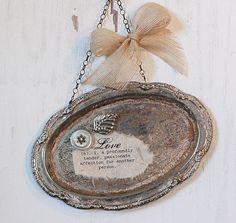 sweet little magnet board, old silver tray...love it!