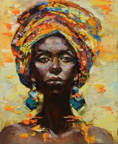 Main Abstraite Moderne Femme Africaine Portrait Couteau Toile Peintures À L'huile Mur Décoratif Main Peinture Sexy Lady Acrylique Photos