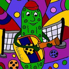 Cool Pickle Playing Pickleball Paddle Guitar