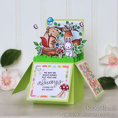 A fun 3D pop up box card featuring the Woodland Critters Stamp Set by Pretty Pink Posh