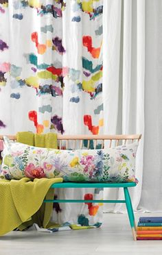 Let the colour in with our abstract fabric Wee Nevis, ideal for curtain making & upholstery with a feel good design from Scottish design company bluebellgray. Bluebellgray, Fabric Samples, Spring Colors, Kids House, Home Textile, Decoration, Fabric Design, Curtains, Drapery