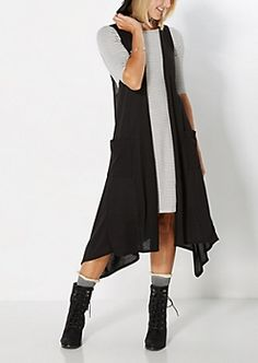 Black Sleeveless Knit Duster $16.99
