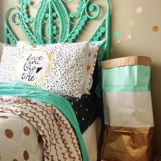 Mint and gold linen crush thanks to adairs #interior #kids #bedroom