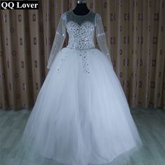QQ Lover Wedding Dress 2017 Vestido De Noiva Long Sleeve Bridal Gown Rhinestones Pearls Crystals Ball Gown Robe De Mariage