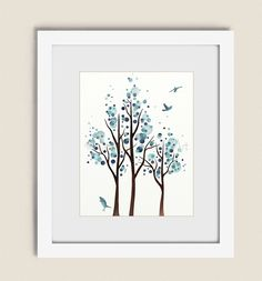 Watercolor Tree Art Print 11 x 14 Blue Wall by NaturesHeavenlyArt
