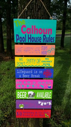 Pool Rules Sign, House Rules Sign, Pool Signs, Beach Signs, Pool Toy Storage, Pool Toy Organization, Pool Float Storage, Pool Cleaning Tips, Pallet Pool